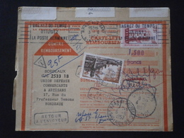 FRANCE TIMBRE 1076 EUROPA 1042 BROUAGE TAXE CARTE REMBOURSEMENT CP LETTRE ENVELOPPE COURRIER ENV PLI BORDEAUX GIRONDE - 1921-1960: Moderne