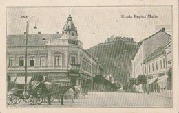 CPA DEVA- QUEEN MARIA STREET, STORES, HORSE CARRIAGE, FORTRESS HILL, RUINS - Rumänien