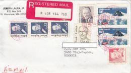 JOHNS HOPKINS, H. HUMPHREY, F. LAUBACH, L.M. MARIN, ANTARCTIC TREATY, STAMPS ON REGISTERED COVER, 1994, USA - Briefe U. Dokumente