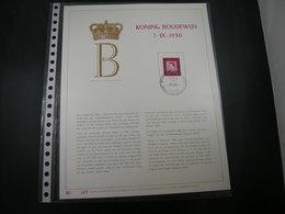 "BELG.1980 1986 FDC Filatelic Gold Card NL. : "" KONING BOUDEWIJN 7-IX-1930 "" - 1971-80"