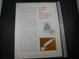 """BELG.1986 2229 FDC Filatelic Gold Card NL. : """" KONINKLIJKE ACADEMIE VOOR NEDERLANDSE TAAL EN LETTERKUNDE """" - FDC"""