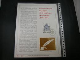 """BELG.1986 2229 FDC Filatelic Gold Card FR. : """" ACADEMIE ROYAL DE LANGUE ET LITTERATURE NEERLANDAISE 1886 -1986  """" - FDC"""