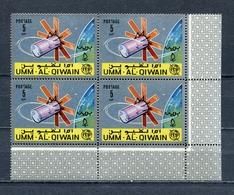 Umm Al Qiwain 1966 Mi # 78 A SPACE Communications Satellites ITU CORNER BLOCK Of 4 MNH - Umm Al-Qiwain