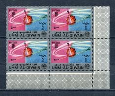 Umm Al Qiwain 1966 Mi # 81 A SPACE Communications Satellites ITU CORNER BLOCK Of 4 MNH - Umm Al-Qiwain