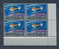 Umm Al Qiwain 1966 Mi # 85 A SPACE Communications Satellites ITU CORNER BLOCK Of 4 MNH - Umm Al-Qiwain