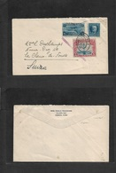 Airmails - World. 1930 (Apr 2) Habana - Switzerland, Chaux De Fonds. Fkd Envelope (10 Ct Rate) + US 5 Cents Airmail Serv - Stamps
