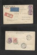 Airmails - World. 1931 (19 Aug) GERMANY - PERSIA, Kassel - Teheran (25 Aug) Registered Air Multifkd Front + Reverse Env. - Unclassified