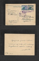 Airmails - World. 1936 (27 Oct) POLAND - PALESTINE. Special Flight Lot Airline To Tel Aviv. Fkd Stat Card + Violet Cache - Unclassified