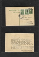 Albania. 1927 (27 Jan) Tirane - Belgium, Ghent 5q Green Stat Card + 2 Adtls Cds. Better Usage. - Albania