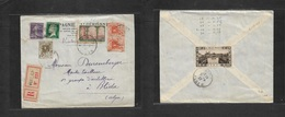 Algeria. 1927 (5 Sept)  Vialap - Blida. PERFIN Stamp Comercial Usage Ovptd Issue + Mixed. Registered Multifkd Envelope.  - Algeria (1962-...)