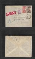 Algeria. 1937 (30 Jan) Alger - France, Marseille (31 Jan) Air Multifkd Env + Tied Air Label + French P. Due Tied Cds. 2f - Algeria (1962-...)
