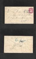 Argentina - Stationery. 1884 (8 Aug) Tulumba, Cordoba - Mar De Ajó, Buenos Aires. 8c Red Stat Env, Box Ds + Dest. VF. - Argentina