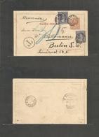 Argentina - Stationery. 1892 (Apr 2) La Plata - Germany, Berlin (28 April) 2c Brown Stat Lettersheet + 2 Adtls, Cds + Ta - Argentina