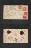 Argentina - Stationery. 1895 (Oct) Rosario - Belgium, Liege (25 Nov) Via Milano (23 Nov) Registered 5c Orange Stat Env + - Argentina