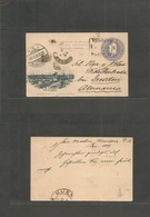 Argentina - Stationery. 1897 (1 Dec) San Martin, Mendoza - Germany, Dresden (0 Dec) 5c Grey Illustrated Bocariandude Sta - Argentina