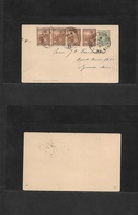 Argentina - Stationery. 1900 (9 June) Buenos Aires Local Usage. 4c Grey Stat Card + (x4) 1/2c Brown Strip Of Four, Cds. - Argentina
