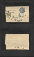 Argentina - Stationery. 1903. Rosario - Switzerland, Morges 1c Blue Complete Stat Wrapper + Taxed + Airmail Swiss Postag - Argentina