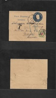 Argentina - Stationery. 1904 (11 Ene) Buenos Aires - Switzerland, Morges (5 Febr) 1c Blue Stat Wrapper, Taxed + Arrival  - Argentina