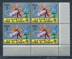 Umm Al Qiwain 1966 Mi # 86 A SPACE Communications Satellites ITU CORNER BLOCK Of 4 MNH - Umm Al-Qiwain
