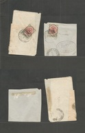 Persia. 1915 (14 Oct And 1 Nov) Bushire Under British Occupation. 2 Fragments Of Covers, Showing 6ch Ovptd One Shifted S - Iran