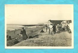 CP 1950  Saint-Aubin-sur-Mer (76) La Plage Cabanes,cycliste ,belle Animation, Marée Basse - Francia