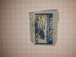 Democratica Posta Aerea 25 Lire Blu Su Frammento - 1946-.. République