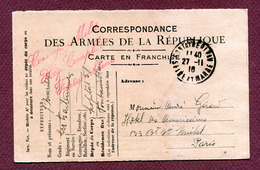 """"""" HÔPITAL COMPLEMENTAIRE De FONTAINEBLEAU N° 58 """"  1916 - Marcophilie (Lettres)"""