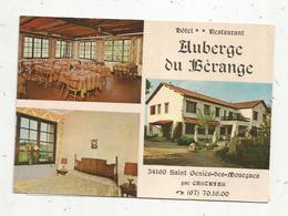 Carte De Visite+ Adjonction D'un Nouveau Plan , Auberge Du BERANGE,34 ,Saint Genies Des Mourgues Par CASTRIES , 3 Scans - Tarjetas De Visita