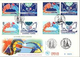 FRANCE - FDC ENVEL. GD FORMAT - INAUGURATION TUNNEL SOUS LA MANCHE FOLKESTONE COQUELLES 3.5.1994 - Yv N°2880-2883/ 1 - 1990-1999
