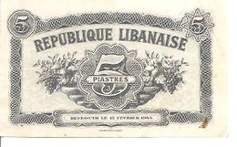 Lebanon    5Piastres  1944  UNC - Libano