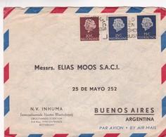 1955 NETHERLANDS COMMERCIAL COVER-NV. INHUMA. INTERCONTINENTALE HUIDEN MAATSCHAPPIJ. CIRCULEE TO ARGENTINE...- BLEUP - 1949-1980 (Juliana)