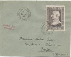 LETTRE AVEC TIMBRE PETAIN A SURTAXE 1FR50 + 3 FR50 OBLITERE 24/4/1944 - PREMIER JOUR D'EMISSION - - Marcophilie (Lettres)