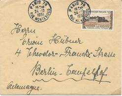 LETTRE 1951 POUR LA SUISSE AVEC TIMBRE A 30 FR CHATEAU DU CLOS DE VOUGEOT - Marcophilie (Lettres)
