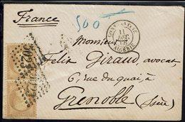 FR-Algérie - 1866 - Paire N° 21, 10 C Bistre, Oblitéré Losange GC 5023, De Constantine Pour Grenoble - B/TB - - 1849-1876: Periodo Classico