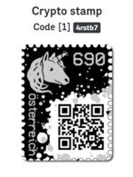 Krypto Kryptostamp Schwarz Black Noir Nero - Auflage 78.500 Crypto-stamp FRANKATUR Einhorn - Covers & Documents