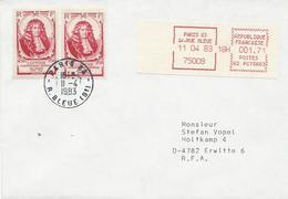 LETTRE 1983 POUR L'ALLEMAGNE  AVEC CACHET MACHINE A AFFRANCHIR ET 2 TIMBRES A SURTAXE - 1961-....