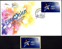 "ISRAEL 2019 - ""Eurovision 2019"" Song Contest In Tel Aviv - Philatelic Bureau ATM # 001 Label - MNH & FDC - Music"