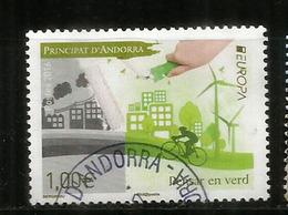 ANDORRA . EUROPA 2016. THINK GREEN / PENSAR EN VERD !  Un Timbre Oblitéré, Oblit.ronde., 1 ère Qualité - Used Stamps