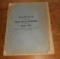 Livret De Mariage. Avec Menu. 1920. - Non Classificati