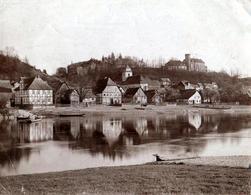 Tirage Photo Albuminé Original Reflets Et Déformations Au Fil De L'Eau - Burg Herstelle - Beverungen  Vers 1900 Weser - Lieux