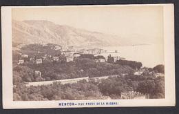 France CDV Photo 06 - MENTON, Vue Prise De La Madone, Photographe, Aleo & Davanne. - Oud (voor 1900)