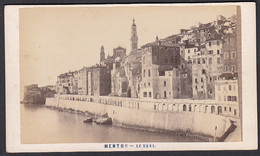 France CDV Photo 06 MENTON, Le Quai   Photographe, Aleo & Davanne. - Oud (voor 1900)