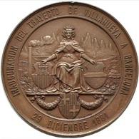 ESPAÑA. ALFONSO XII. MEDALLA INAUGURACIÓN FERROCARRIL VILLANUEVA-BARCELONA. 1.881. ESPAGNE. SPAIN MEDAL - Profesionales/De Sociedad