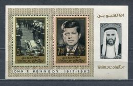 Umm Al Qiwain 1967 Mi # 137 A - 138 A BLOCK 8 A In Memory Of DF Kennedy PERSONNEL Overprint MNH - Umm Al-Qiwain