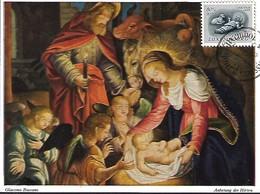 5.12.1955  -GIACOMO BASSANO ( Mitte 16. Jahrhundert ) - Anbetung Der Hirten  Timbre Caritas - Maximum Cards