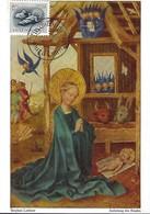 12.1..1956  -  ANBETUNG DES KINDES - STEPHAN LOCHNER  ( T 1451 )  Timbre Caritas - Maximum Cards