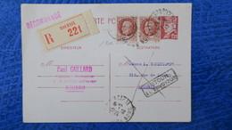 Entier Postal Petain Avec Complement Timbres Pour Recommandé De Roubaix Mai 1943 - Entiers Postaux