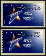 "ISRAEL 2019 - ""Eurovision 2019"" Song Contest In Tel Aviv - Philatelic Bureau # 001 & Tel Aviv # 450 ATM Labels - MNH - Music"