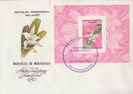 Enveloppe  FDC   1er  Jour   MADAGASCAR   Bloc  Feuillet    Orchidées   De    MADAGASCAR    1989 - Orchidées