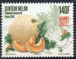Polynésie Française 2019 - Fruits, Le Melon, Timbre Senteur Au Melon - 1 Val Neufs // Mnh - French Polynesia